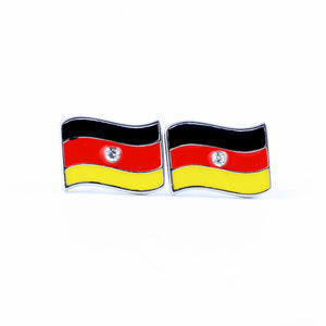 German flag dangle, German flag stud, sterling silver earring, handmade, gift for her, world cup, crystal earring