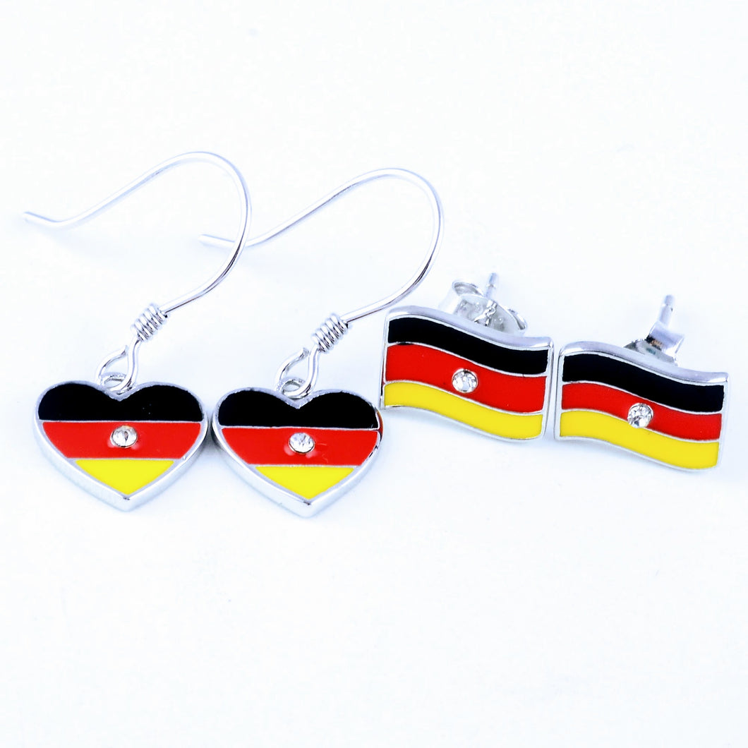 German flag dangle, German flag stud, sterling silver earring, handmade, gift for her, world cup