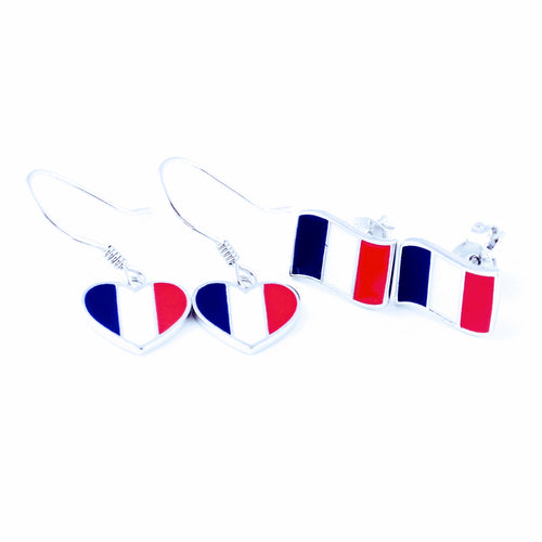 French earrings, national flag earrings, sterling silver earrings, dangle, stud, French flag, world cup 2018