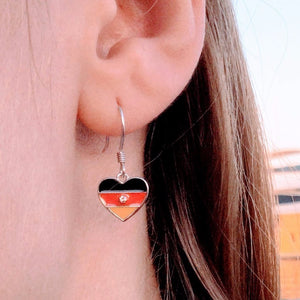 German flag dangle, sterling silver dangle, German flag stud, sterling silver earring, handmade, gift for her, world cup