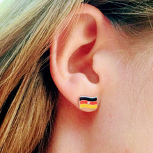 Lifestyle earring, German flag, sterling silver earring, stud earring