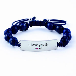 motivational gemstone bracelet, gemstone bracelet, women's bracelet, adjustable bracelet, I love you bracelet, blue bracelet, gift for her