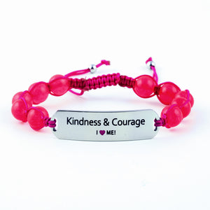 Kindness & Courage: motivational gemstone bracelet, adjustable, gift for her, gemstone bracelet