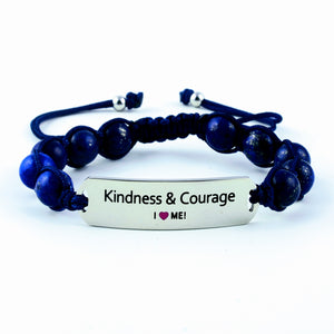 Kindness and courage, bracelet for her, princess bracelet, motivational gemstone bracelet, women's bracelet, gemstone bracelet, gift for her, braidsmaid gift
