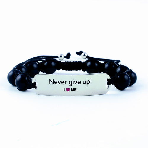 Never give up!, motivational gemstone bracelet, motivational bracelet, gemstone bracelet, women's bracelet, gift for her, onyx bracelet,  engraved stainless steel, stackable bracelet