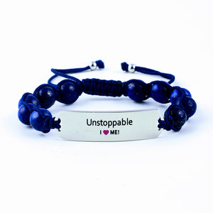 Unstoppable, motivational gemstone bracelet, gemstone bracelet, engraved bracelet, motivation, inspiration, gift for her, women's bracelet