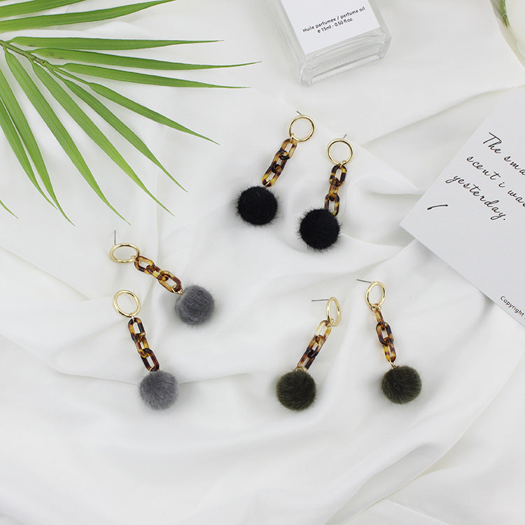 Chain Hair Ball earrings