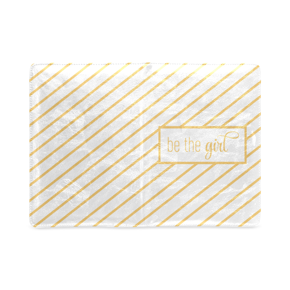 "Be The Girl Gold & White Striped Notebook (5.5"" x 8.5"")"