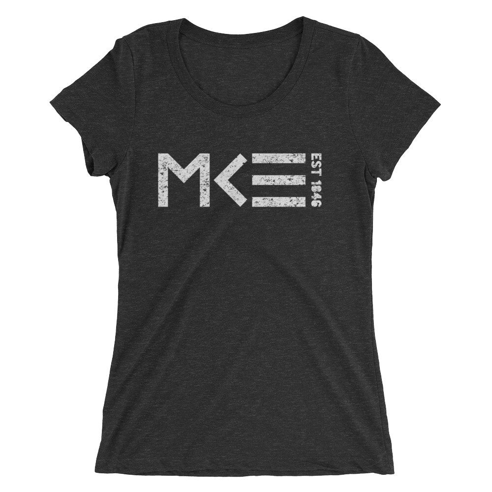 Black Ladies Tee with distressed MKE EST 1846 design by MKE Outfitters