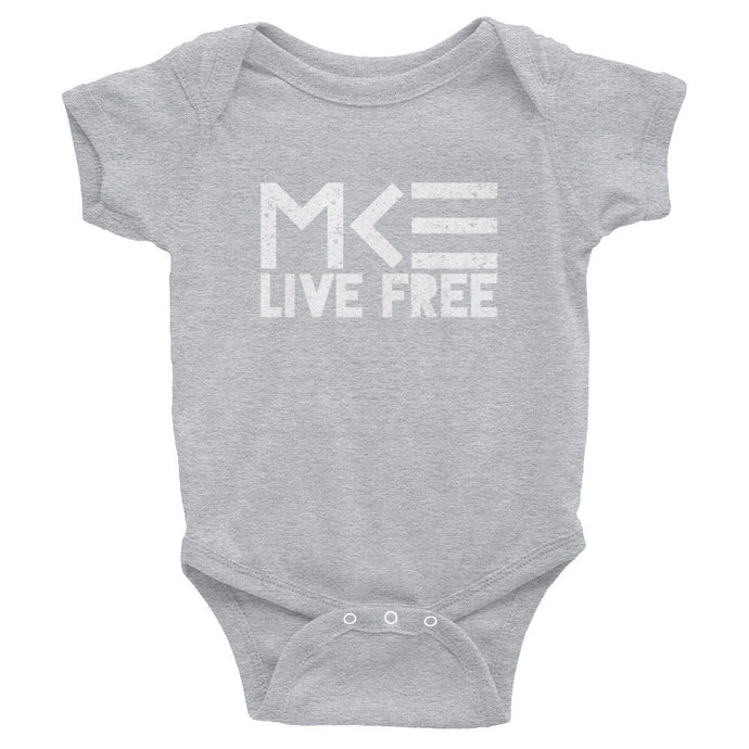 Milwaukee Live Free Gray Onesie by MKE Outfitters