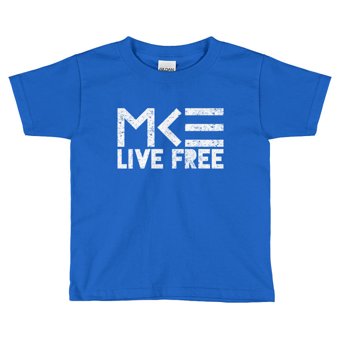 Blue Milwaukee Toddler T-Shirt, Live Free design by MKE Outfitters