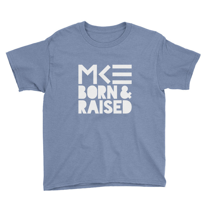 Milwaukee Born & Raised Kid's Shirt in Blue by MKE Outfitters