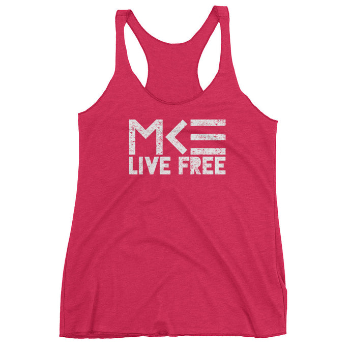 Milwaukee Pink Racerback Tank Top, Live Free by MKE Outfitters