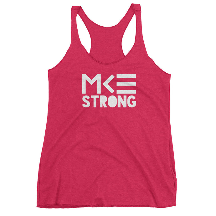women's pink racerback tank top, MKE Strong by MKE Outfitters