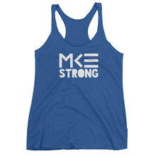 MKE Strong blue racerback tank top, womens