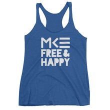 Milwaukee blue tank top with MKE Free & Happy in white