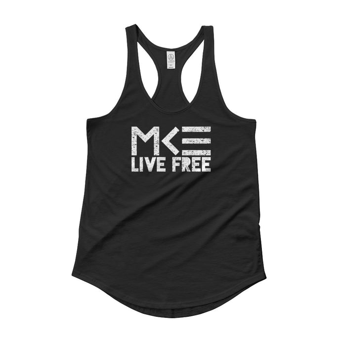 MKE Live Free womens black shirttail tank by MKE Outfitters