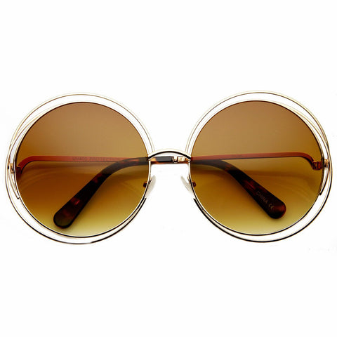 4b7d2efd15 attention frames. Oversized metal wire round sunglasses
