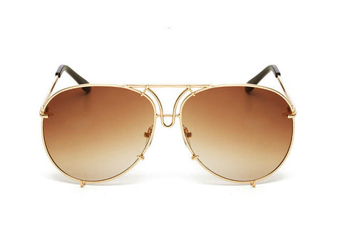 OVERSIZED  AVIATORS - Gold Brown