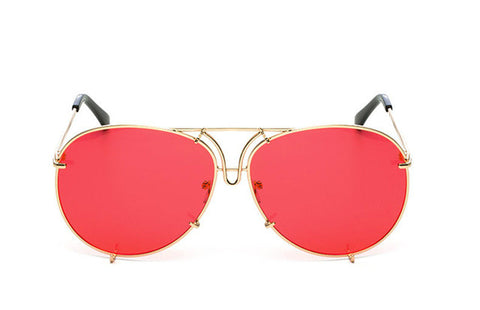 OVERSIZED  AVIATORS -  Gold Clear Red