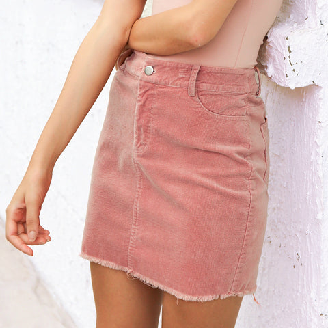 Vintage corduroy pink pencil skirt