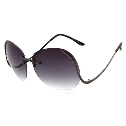 Over Size Hollywood Glam Rimless Fashion Sunglasses