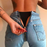 Retro Back Zipper  Jeans