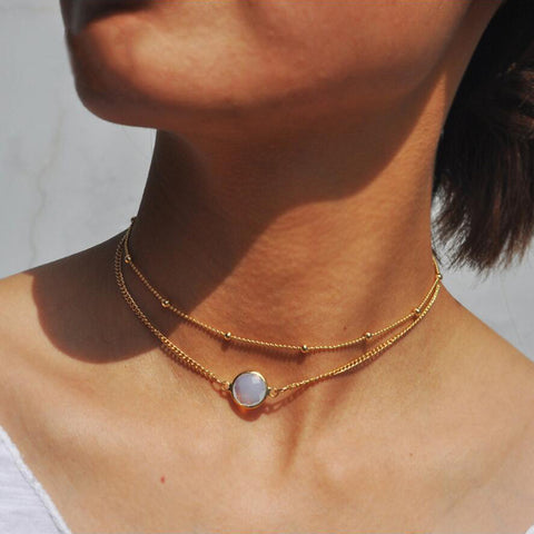 Natural crystal 2 layer choker necklace
