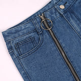 Right leg zipper split jeans