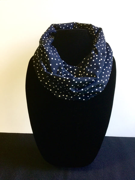 Blue with Small White Polka Dot Infinity