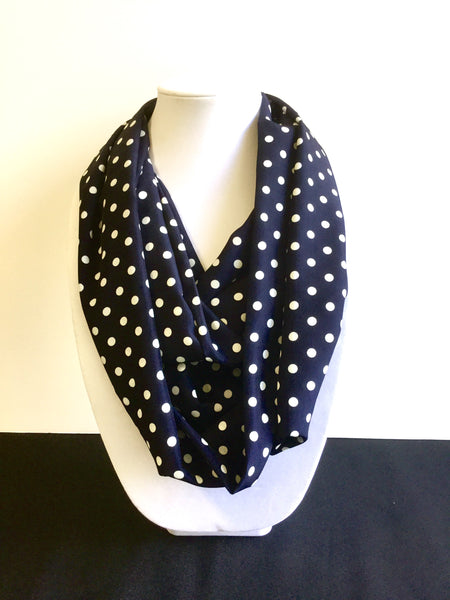 Navy Blue with Large White Polka Dot Infinity