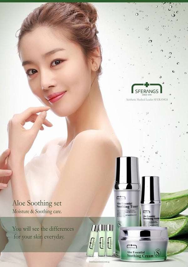 SFERANGS model with Aloe Soothing range of products