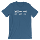 """Eat Sleep Gym"" Short-Sleeve Typography Tee - Ravik Apparel"