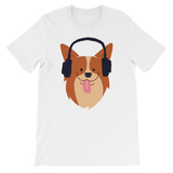 """Corgi With Headphones"" Short-Sleeve Graphic Tee"