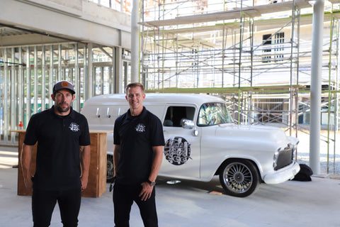 Founders, Chris and Joe, are seen here gearing up for their first major Tap Truck event in the Inland Empire.