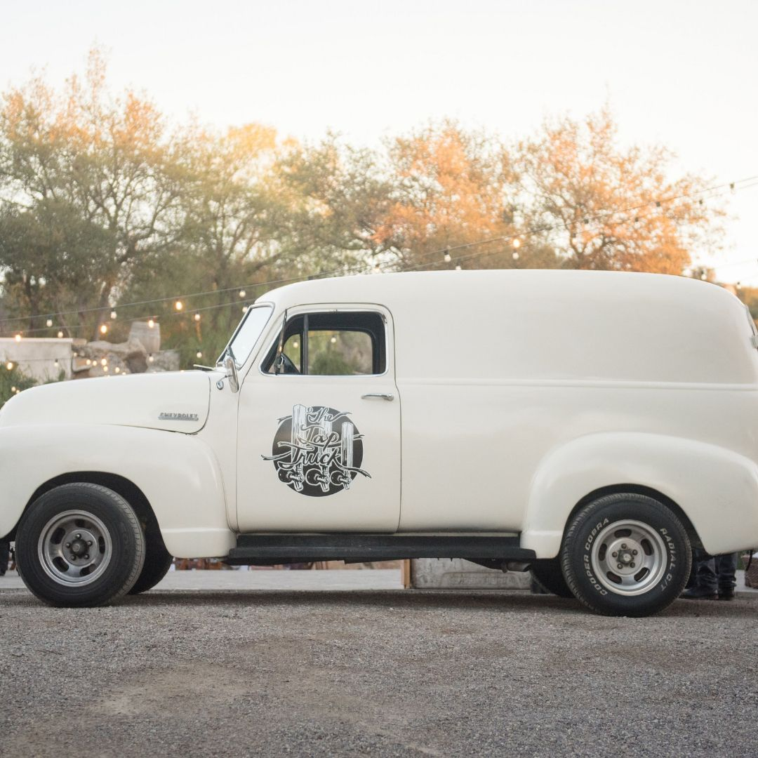 White vintage truck from Tap Truck Seattle