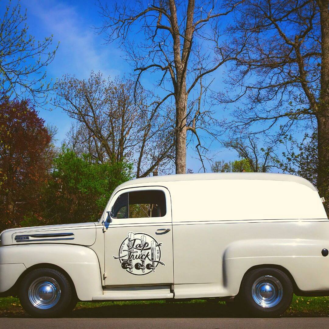 Tap Truck Buffalo's beautiful white truck with racing stripes