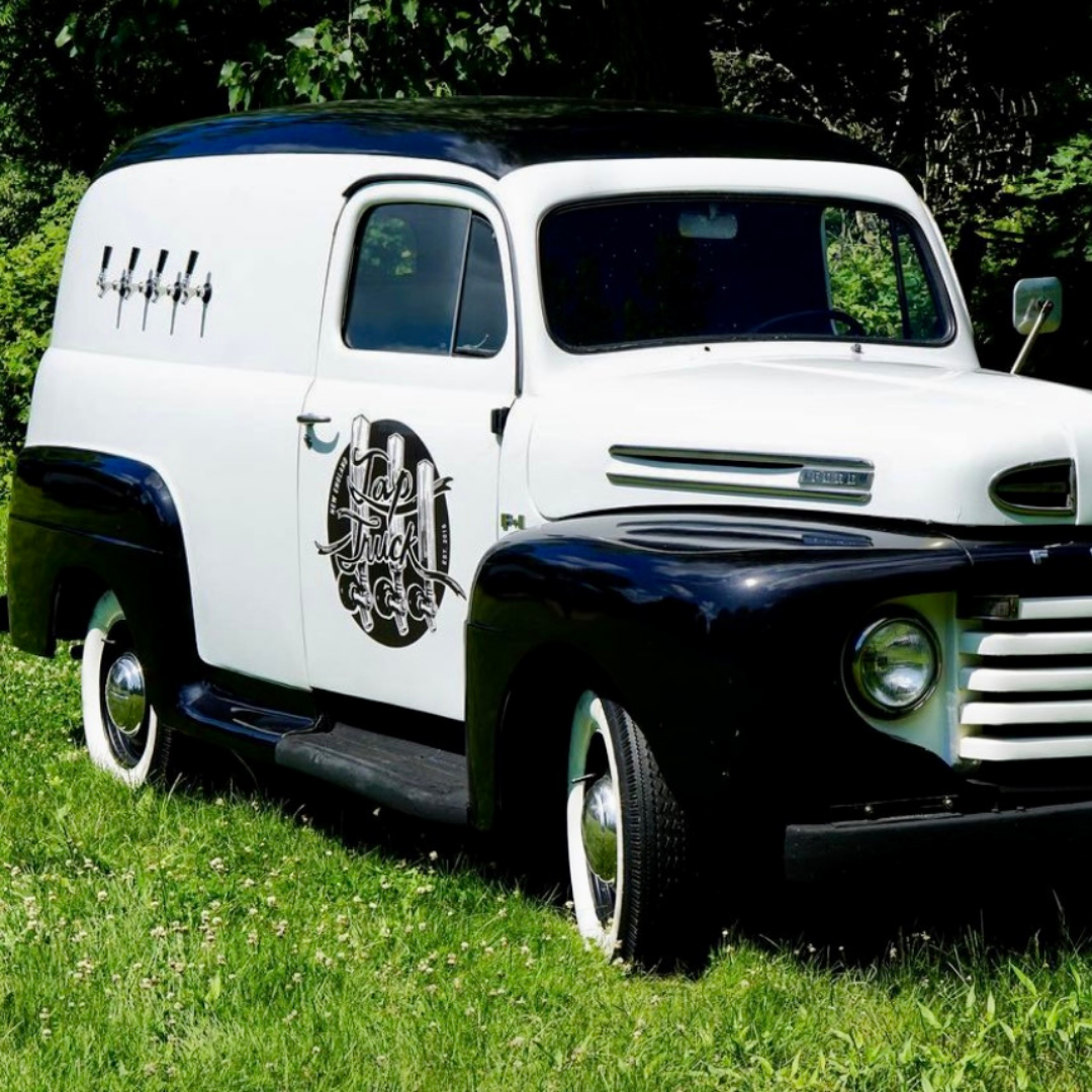 A Classic Black and White 1949 Ford, 6 taps and fully stocked flathead V8.