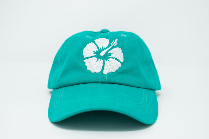 Hibiscus Teal Dad Hat