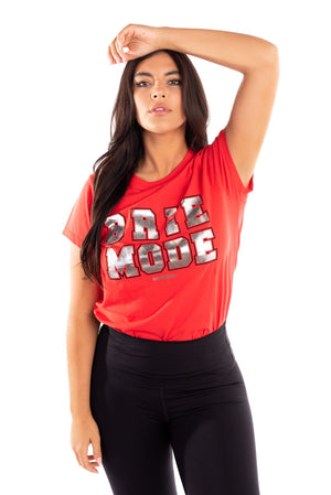 red brie mode graphic tee, bella army t-shirt, total bellas, total divas, red tee with red and silver graphic, bella twins clothing line birdiebee, brie bella