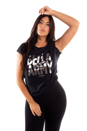 black bella army t-shirt, girlfriend tee, bella army graphic tee, bella twins clothing line birdie bee, total bellas, total divas, brie bella, nikki bella