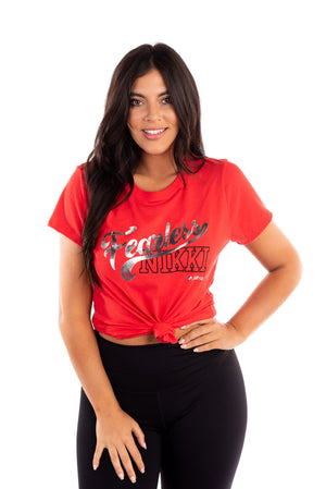 Fearless Nikki red girlfriend tee, nikki bella t-shirt, bella twins clothing line birdiebee, total bellas, total divas, metallic lettering