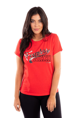 Fearless Nikki red girlfriend tee, nikki bella t-shirt, bella twins clothing line birdiebee, total bellas, total divas, metallic lettering graphic tee