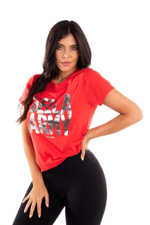 red bella army t-shirt, metallic graphic tee, bella army tee, total bellas, total divas, brie bella, nikki bella, bella twins clothing line birdiebee