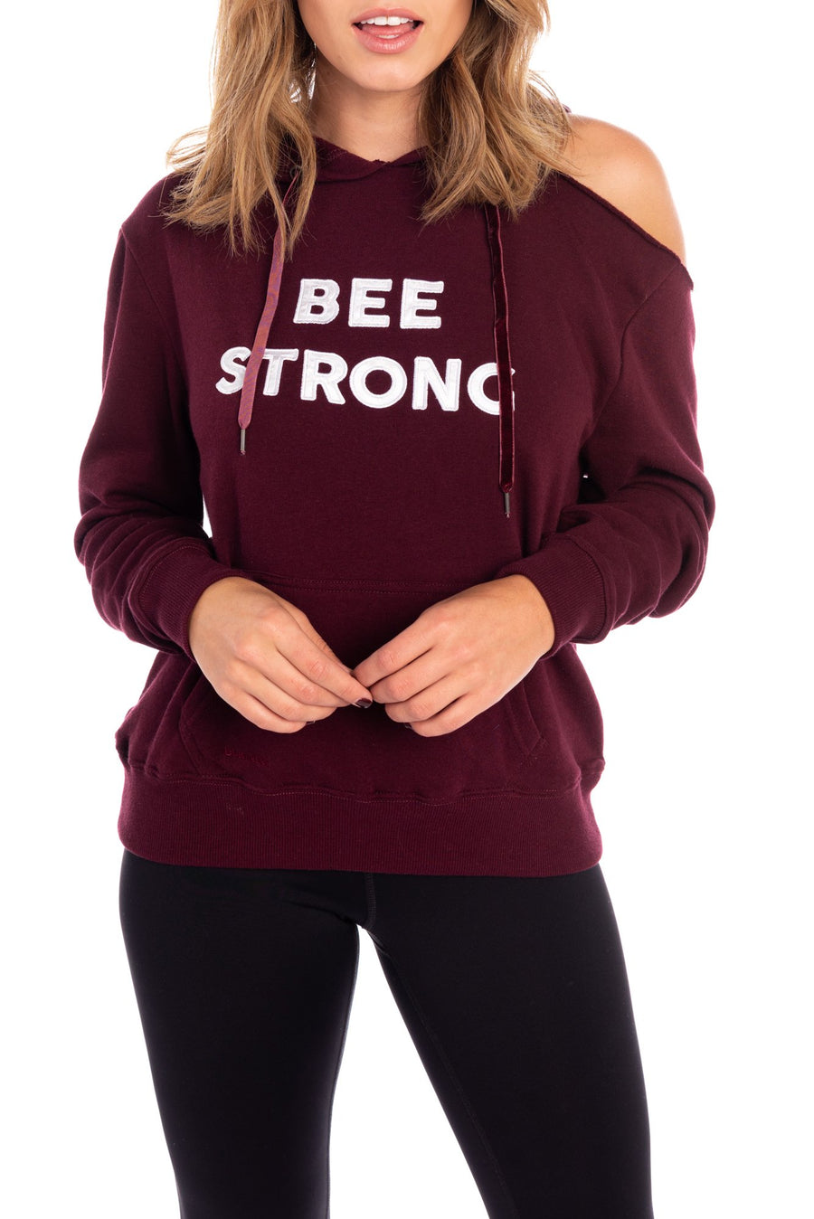 bee strong pullover hoodie, wine colored sweatshirt, graphic sweatshirt, cold shoulder cut out, bella twins clothing line birdiebee, sweat outfit, nikki bella, brie bella, athleisure, workout outfit