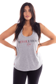 heather grey racer back tank, revolution rebel tank top, black and red graphic tank, bella twins clothing line birdiebee, nikki bella, brie bella, bella army, statement tank