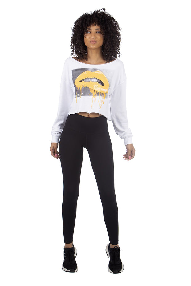 Neon Lip Cropped Sweater