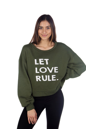 LET LOVE RULE GLAM CREW PULLOVER