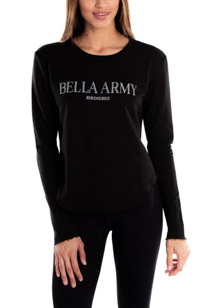 BELLA ARMY RAW EDGE SHIRTTAIL CREWNECK