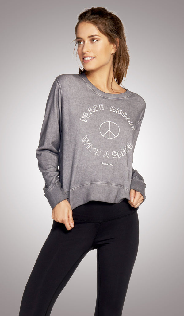 Peace Begins With A Smile Crop Pullover
